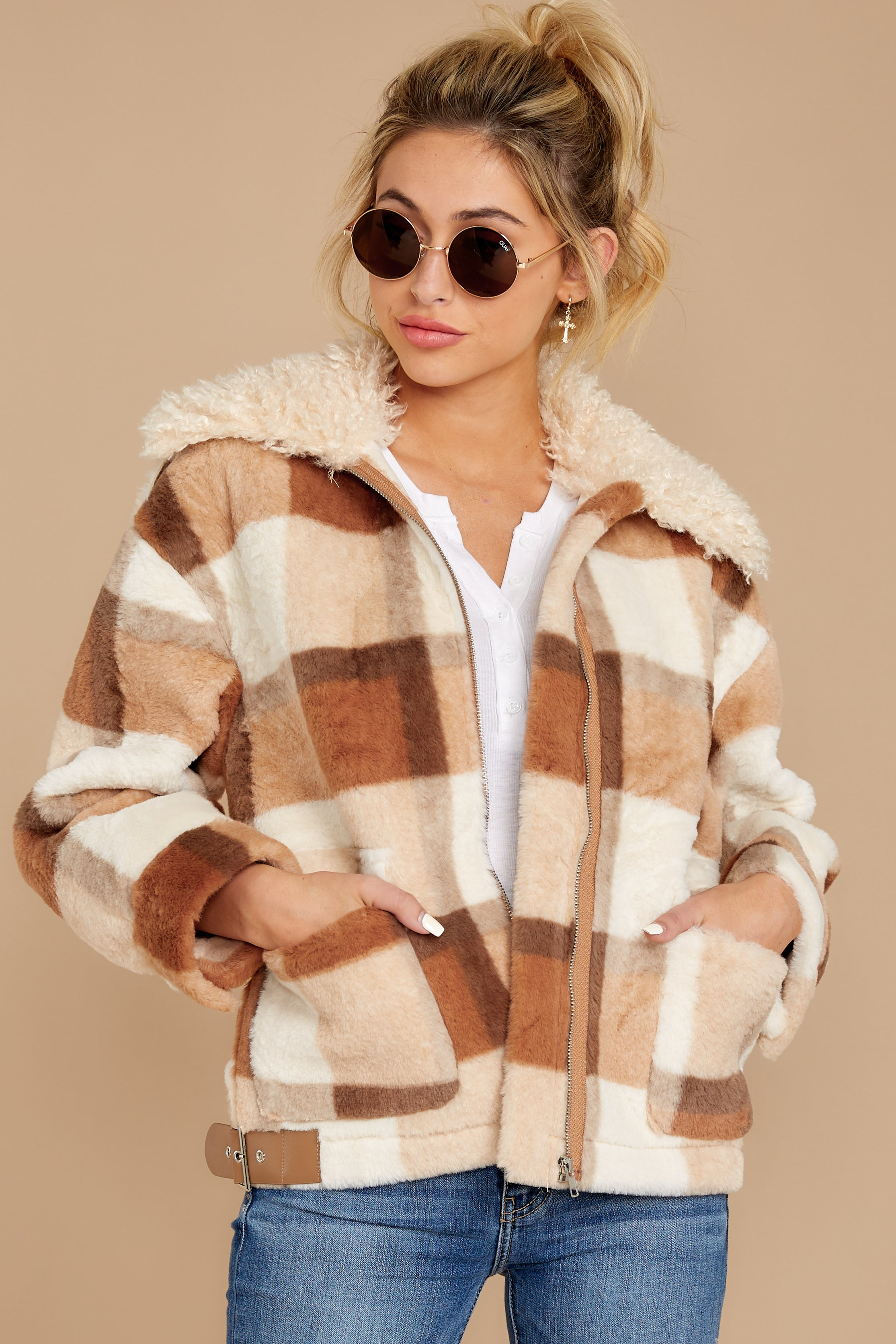 8 Before You Leave Brown Multi Plaid Jacket at reddressboutique.com