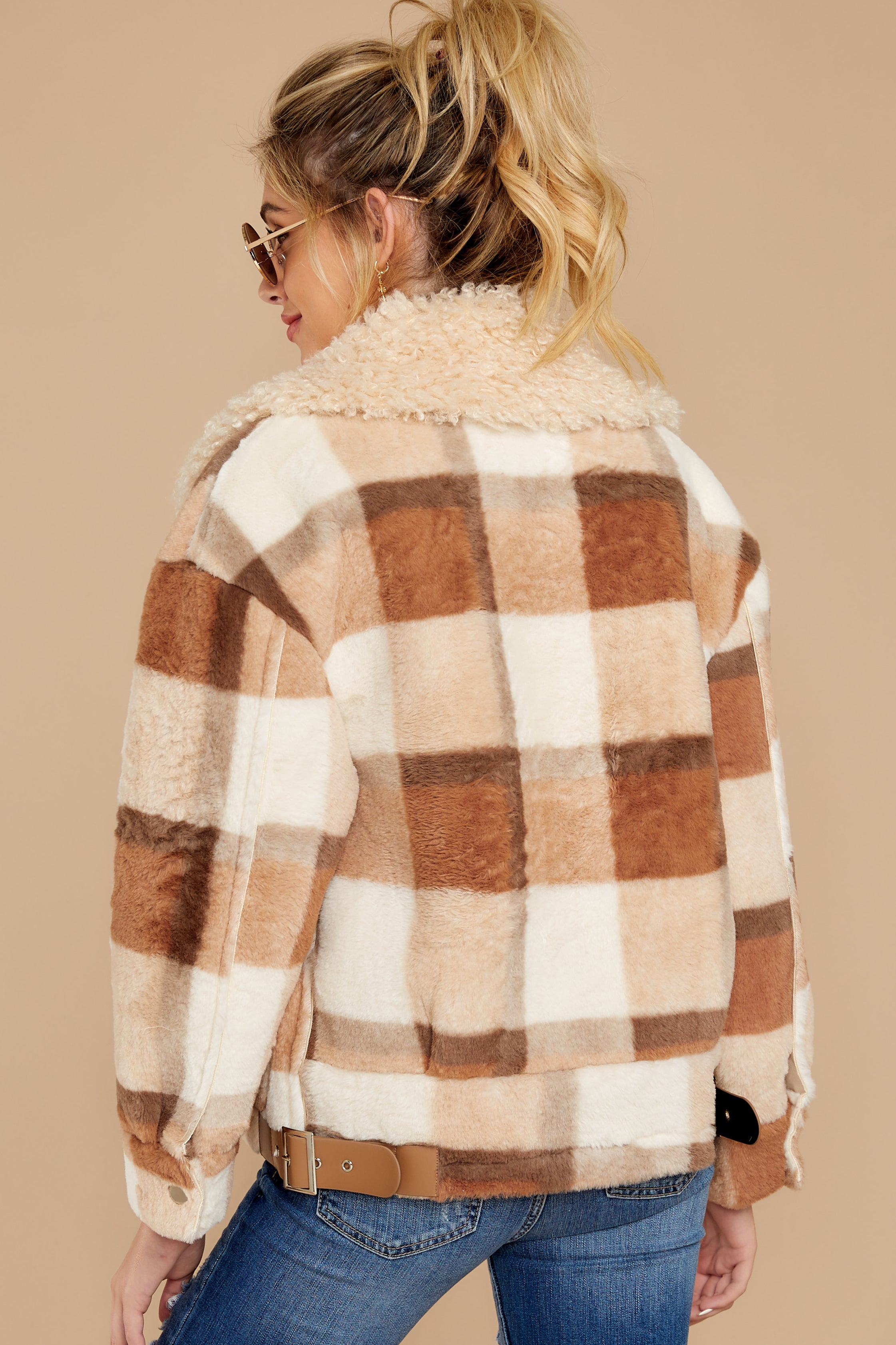 9 Before You Leave Brown Multi Plaid Jacket at reddress.com
