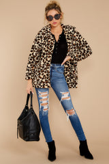 3 The Natural Leopard Sherpa Teddy Bear Coat at reddressboutique.com
