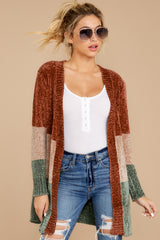 Let's Hang Out Brick Red Multi Chenille Cardigan