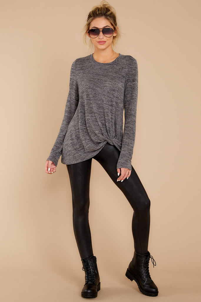 6 Daytime Debut Charcoal Grey Waffle Knit Top at reddressboutique.com