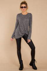 1 I Thought So Dark Heather Grey Twist Top at reddressboutique.com