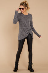 2 I Thought So Dark Heather Grey Twist Top at reddressboutique.com