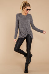 3 I Thought So Dark Heather Grey Twist Top at reddressboutique.com