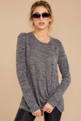 4 I Thought So Dark Heather Grey Twist Top at reddressboutique.com