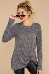 5 I Thought So Dark Heather Grey Twist Top at reddressboutique.com