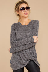 6 I Thought So Dark Heather Grey Twist Top at reddressboutique.com