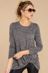 7 I Thought So Dark Heather Grey Twist Top at reddressboutique.com