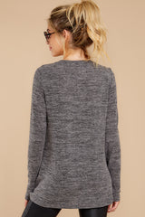 8 I Thought So Dark Heather Grey Twist Top at reddressboutique.com