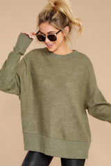 Day After Day Heather Green Sweater