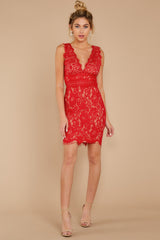 7 Better For It Red Lace Dress at reddress.com