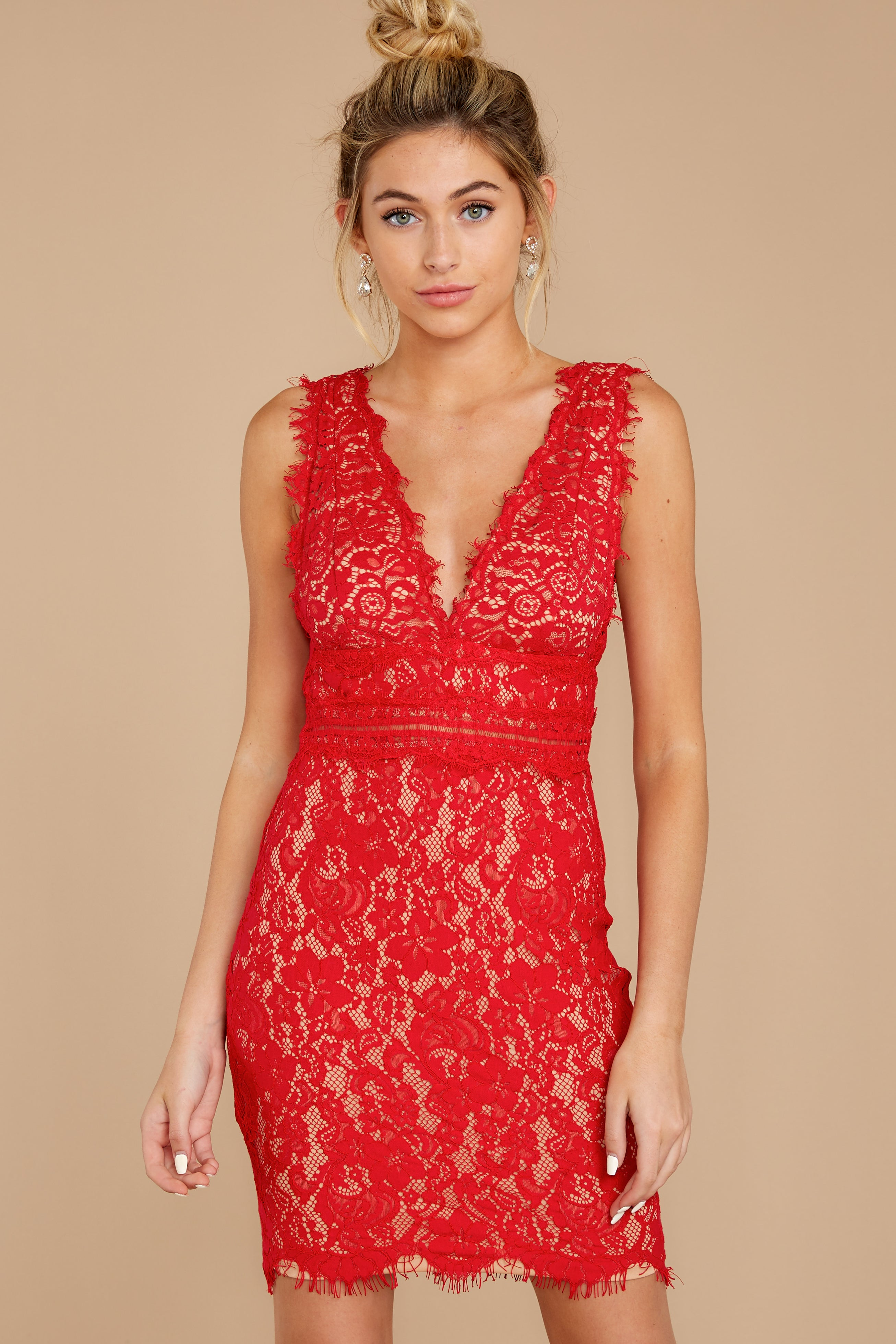 8 Better For It Red Lace Dress at reddress.com