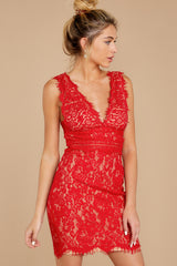 7 Better For It Red Lace Dress at reddressboutique.com