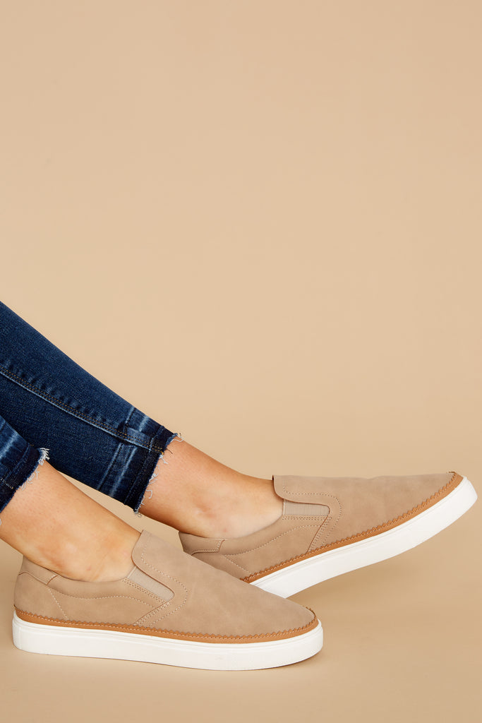 1 Go The Distance Light Grey Slip On Sneakers at reddress.com