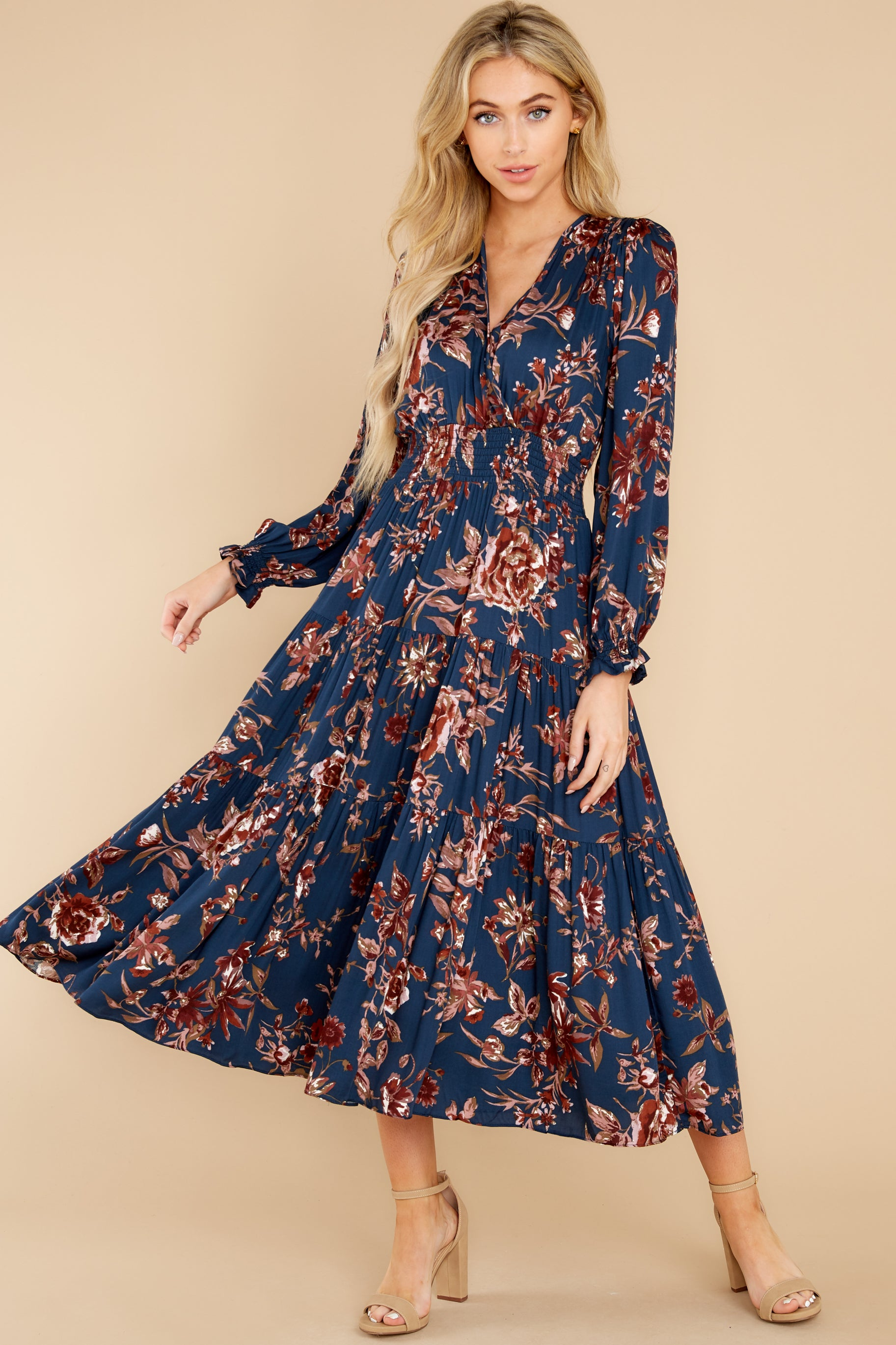 70s Dresses – Disco Dress, Hippie Dress, Wrap Dress Divine Nights Navy Floral Print Maxi Dress $62.00 AT vintagedancer.com