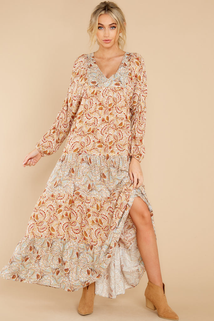 1 Falling Foliage Sage And Rust Multi Maxi Dress at reddress.com