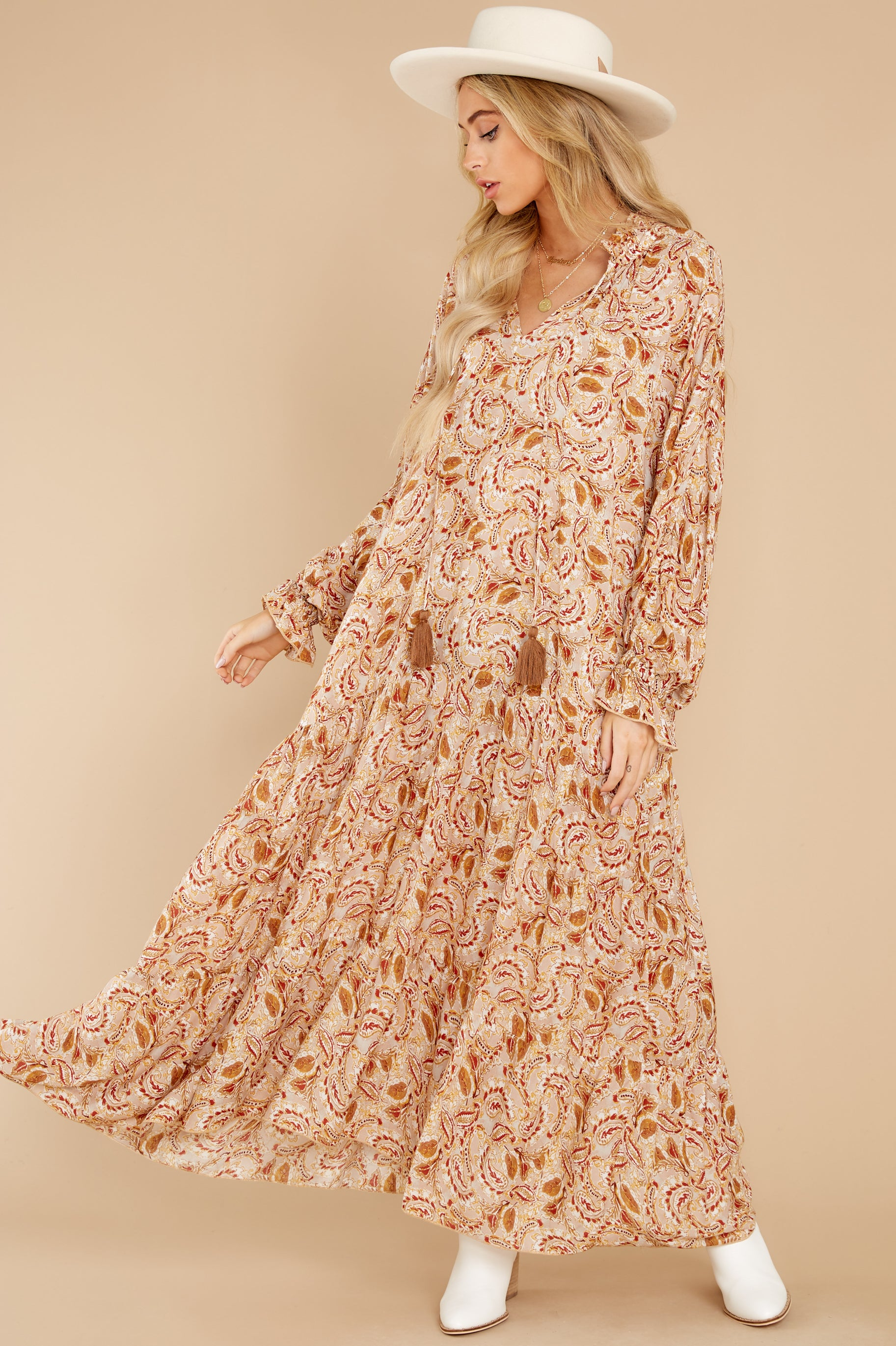 Cottagecore Dresses Aesthetic, Granny, Vintage Aura Falling Foliage Beige Multi Print Maxi Dress $64.00 AT vintagedancer.com