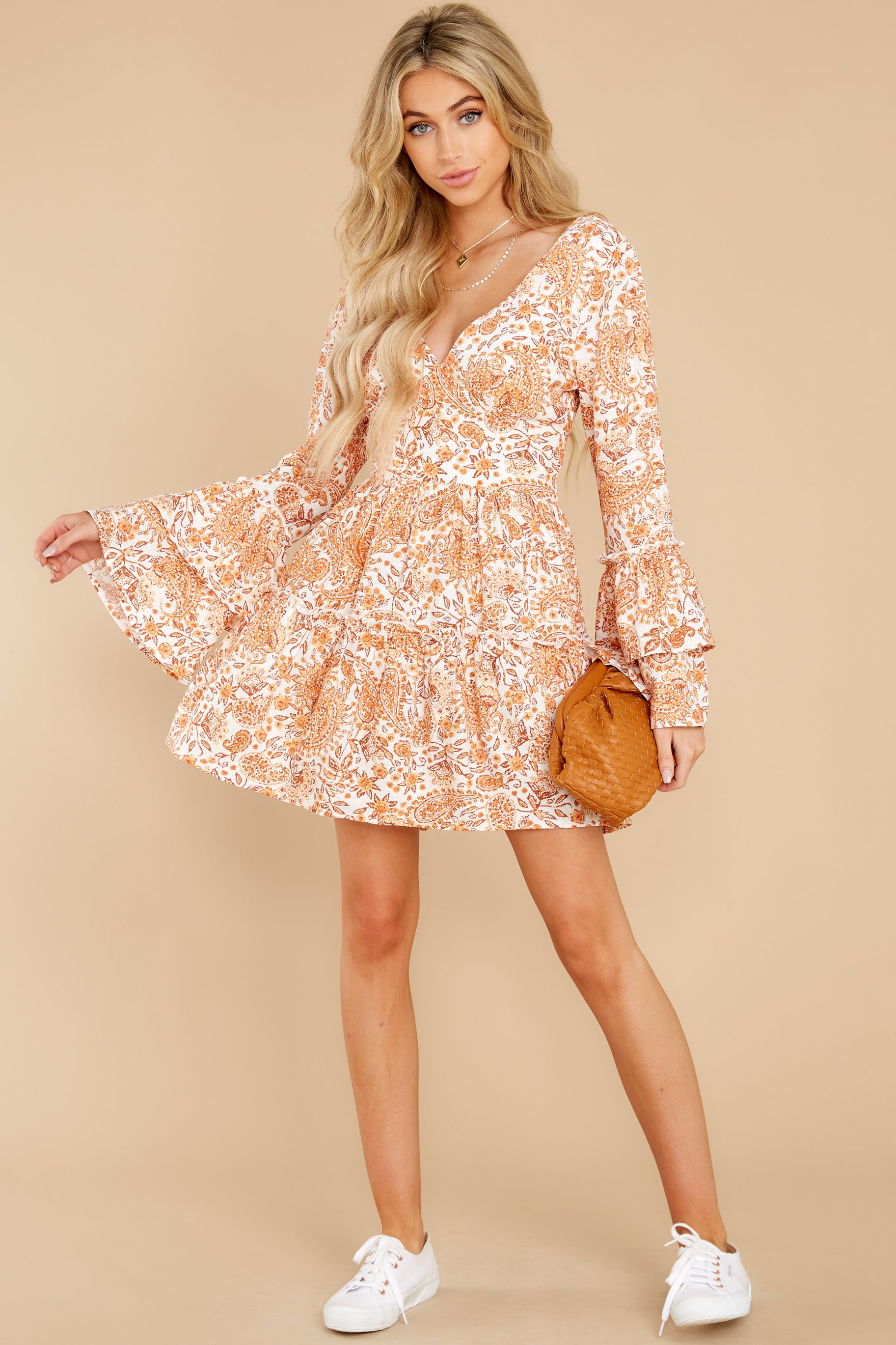 1 Sunrise Paisley Orange Mini Dress at reddress.com