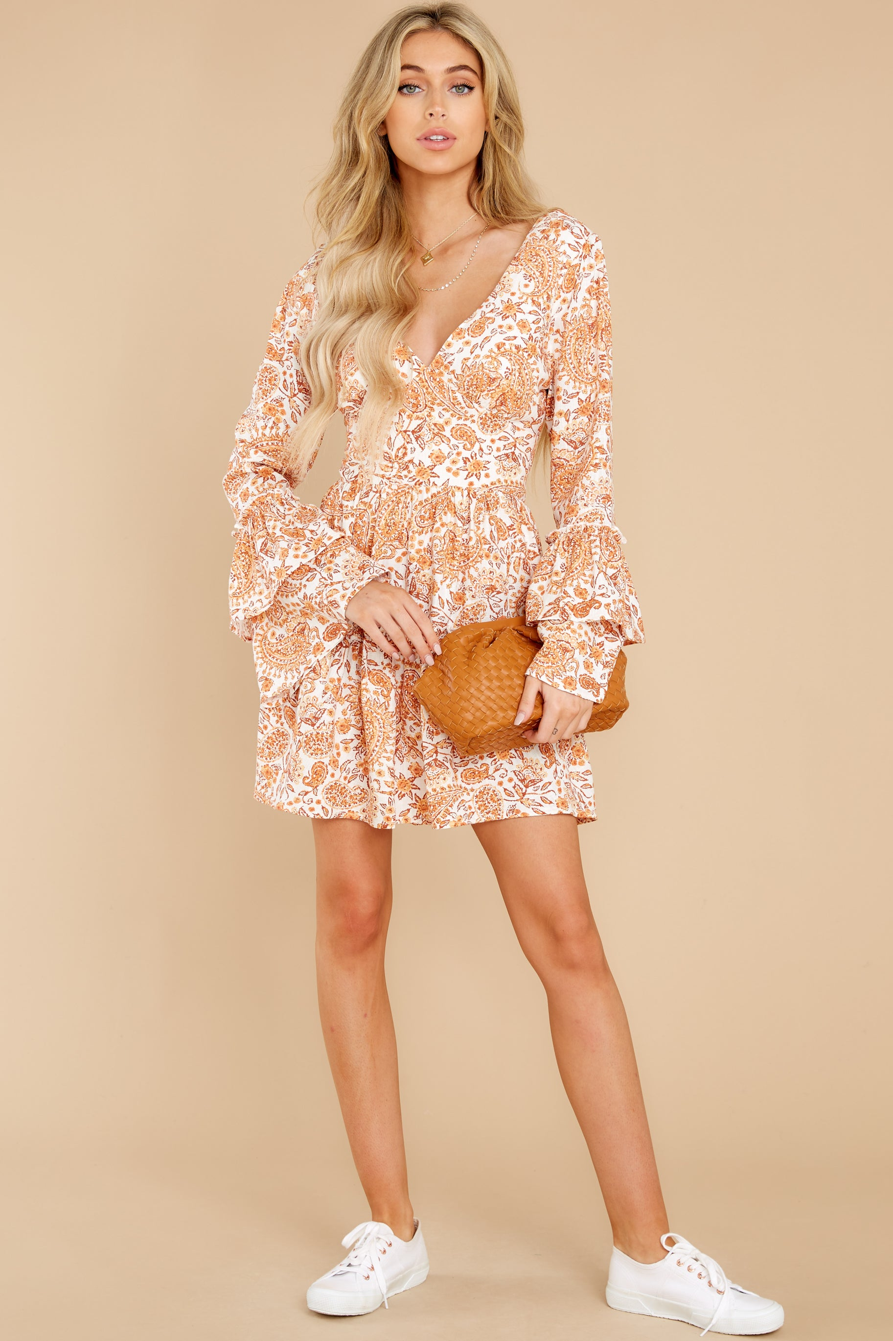 3 Sunrise Paisley Orange Mini Dress at reddress.com