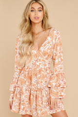 5 Sunrise Paisley Orange Mini Dress at reddress.com