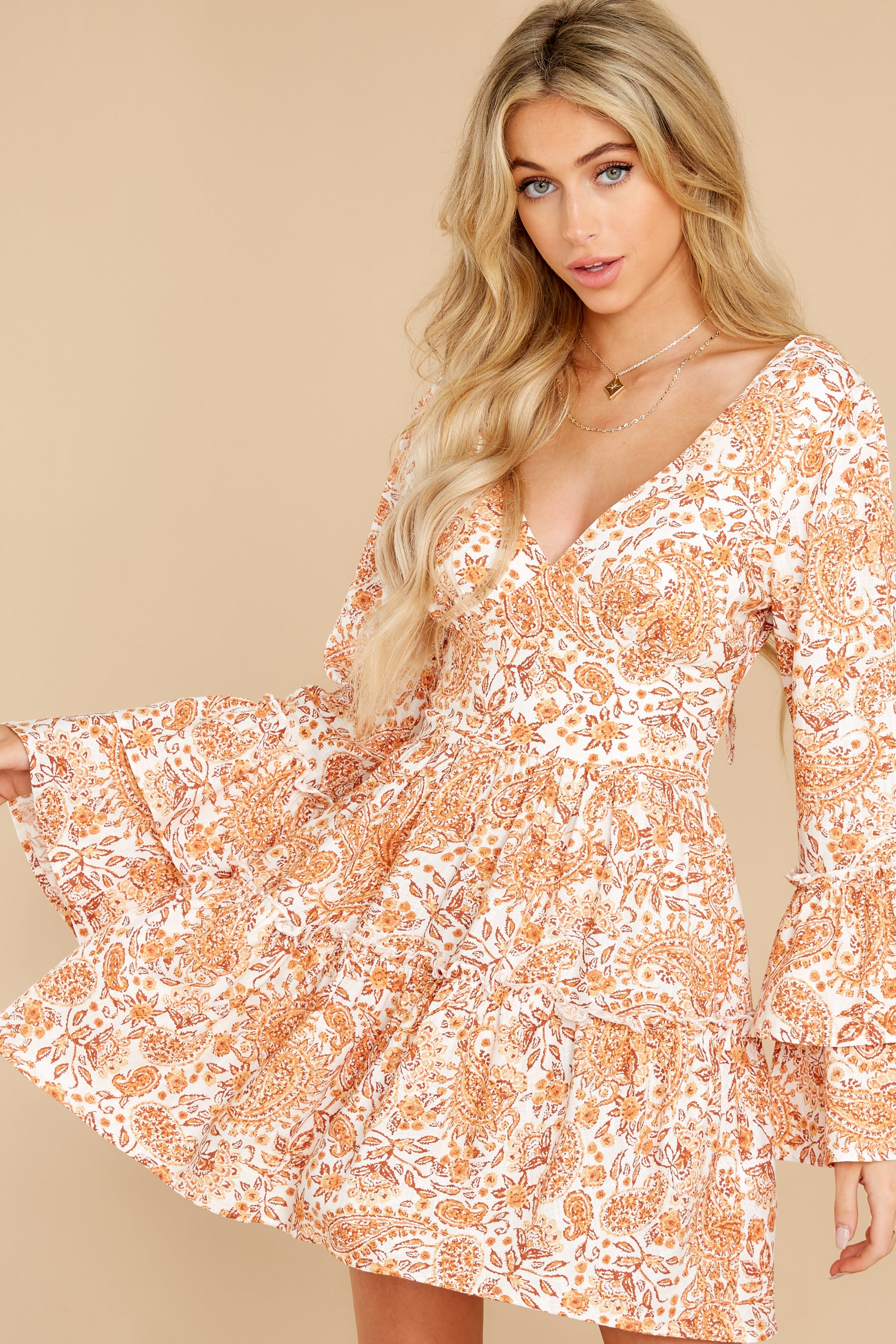 7 Sunrise Paisley Orange Mini Dress at reddress.com