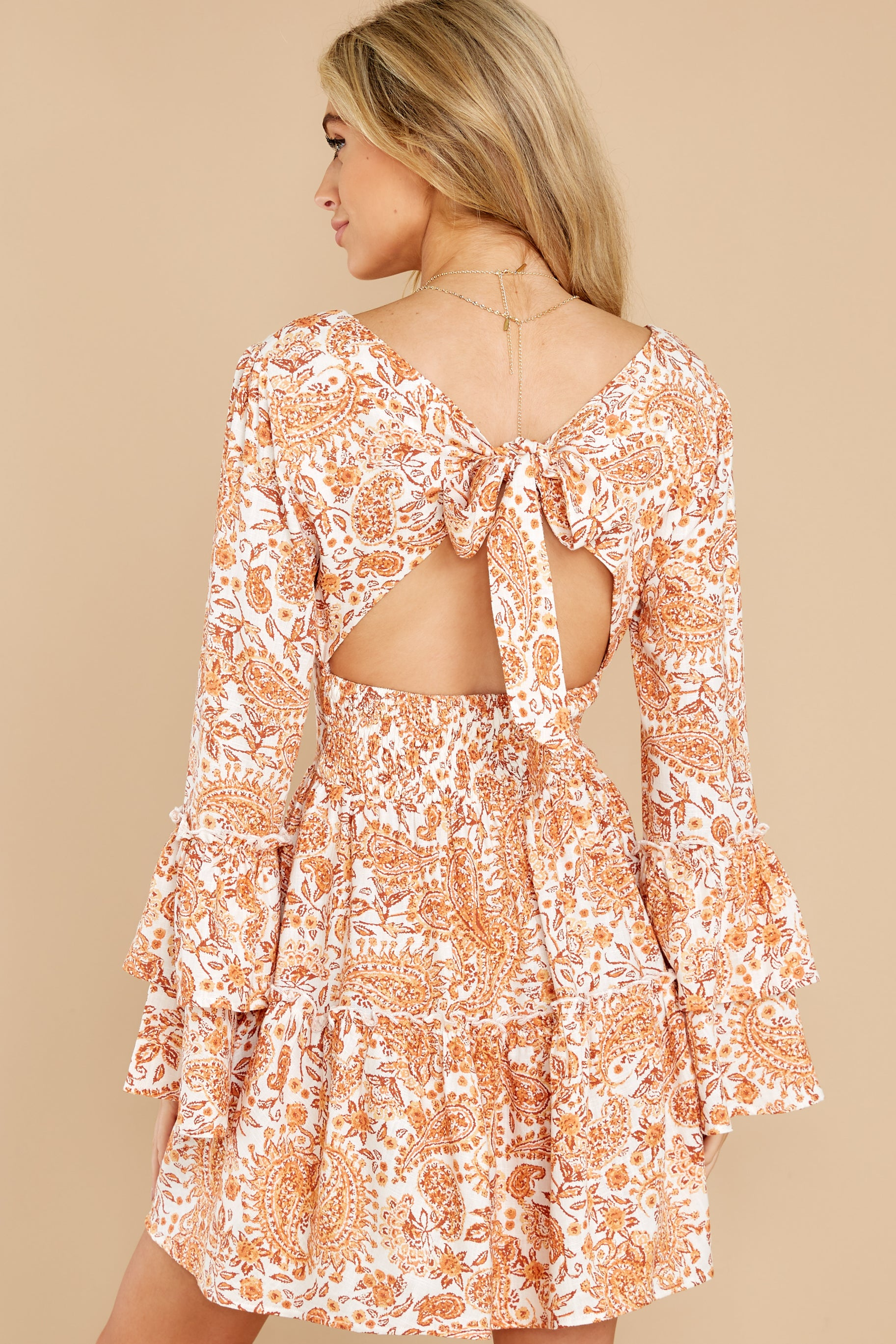 8 Sunrise Paisley Orange Mini Dress at reddress.com