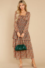 3 Fleetwood Rust Floral Chiffon Top at reddress.com