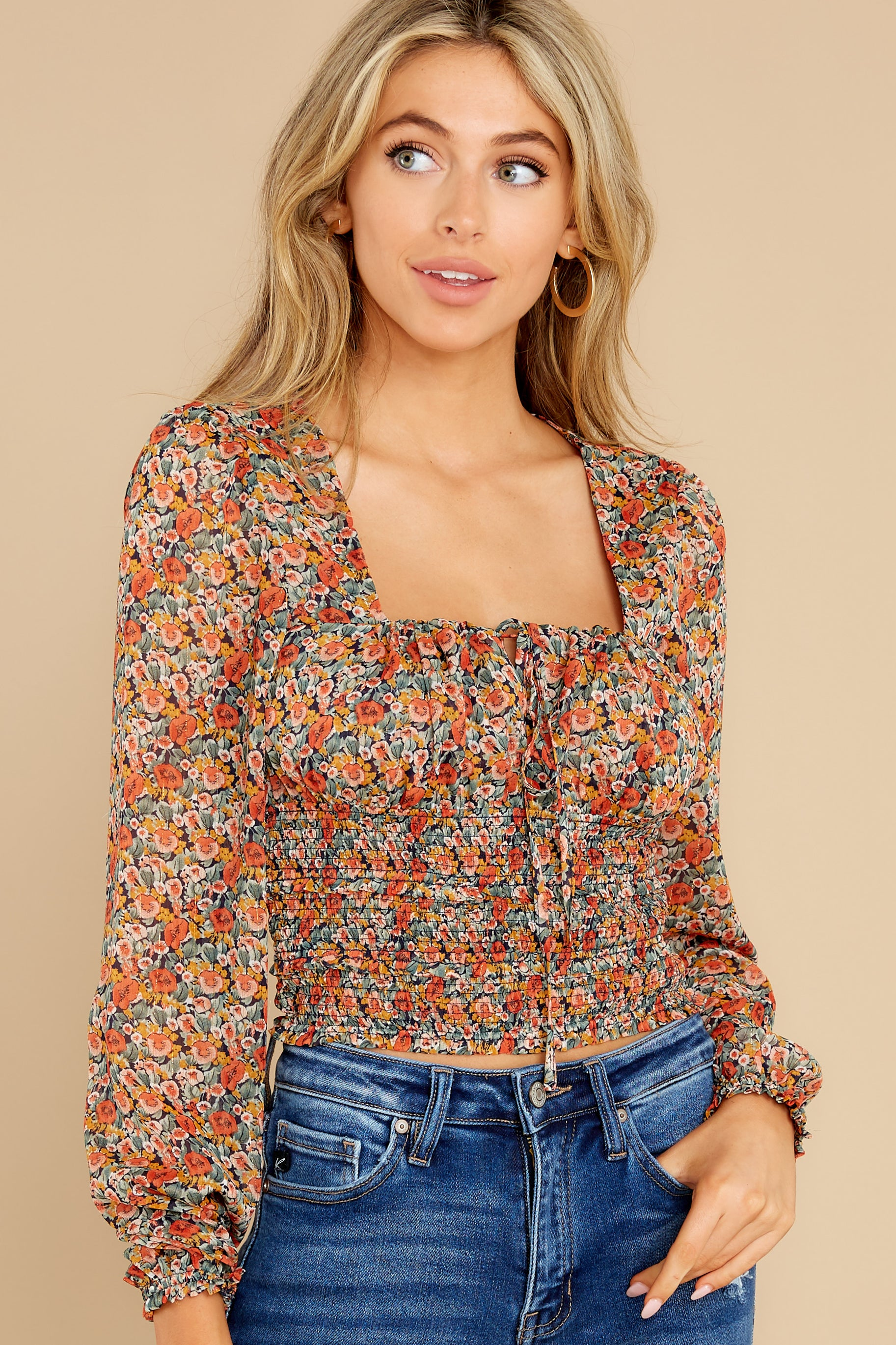 5 Fleetwood Rust Floral Chiffon Top at reddress.com