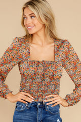 4 Fleetwood Rust Floral Chiffon Top at reddress.com