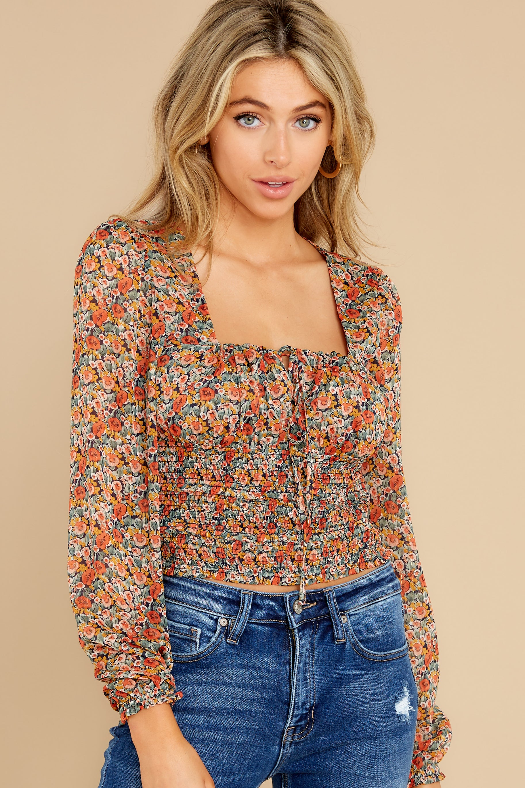 6 Fleetwood Rust Floral Chiffon Top at reddress.com