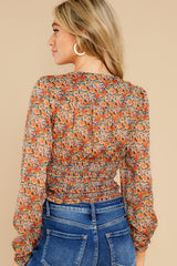 8 Fleetwood Rust Floral Chiffon Top at reddress.com