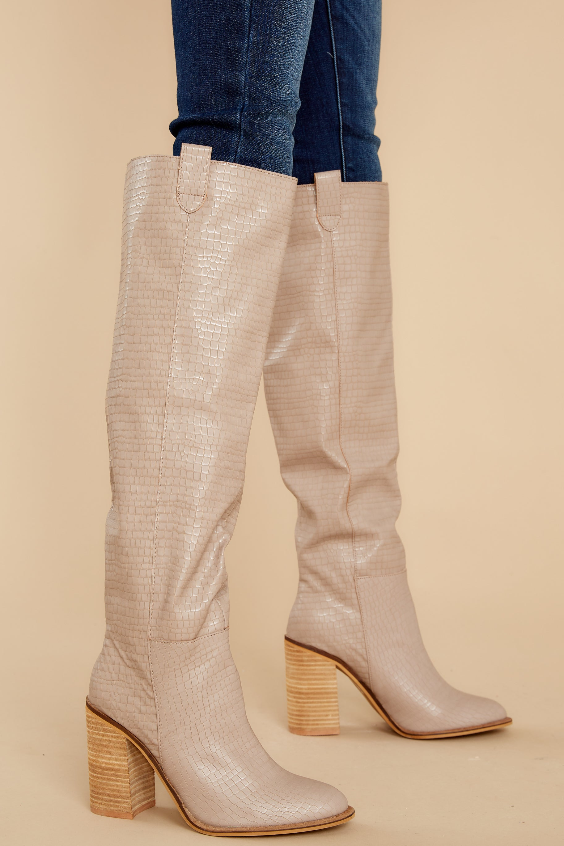 1 Noted Character Taupe Crocodile Knee High Boots at reddress.com