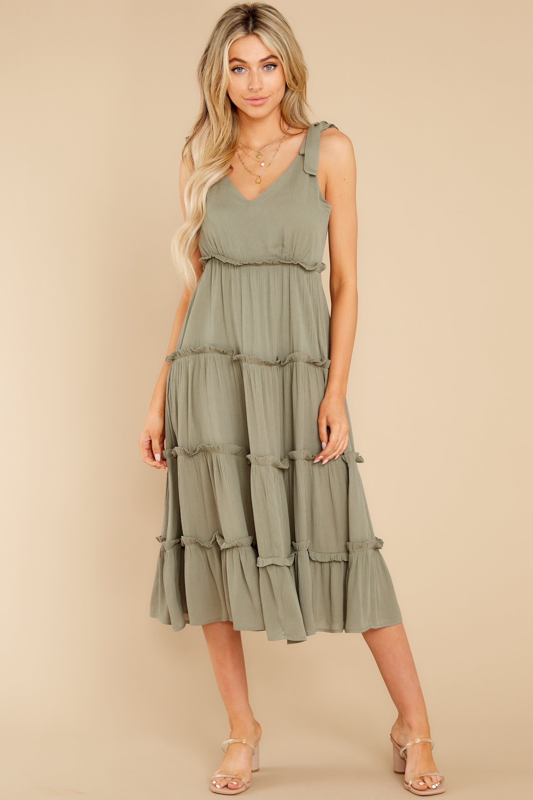 3 In Full Swing Olive Green Midi Dress at reddress.com