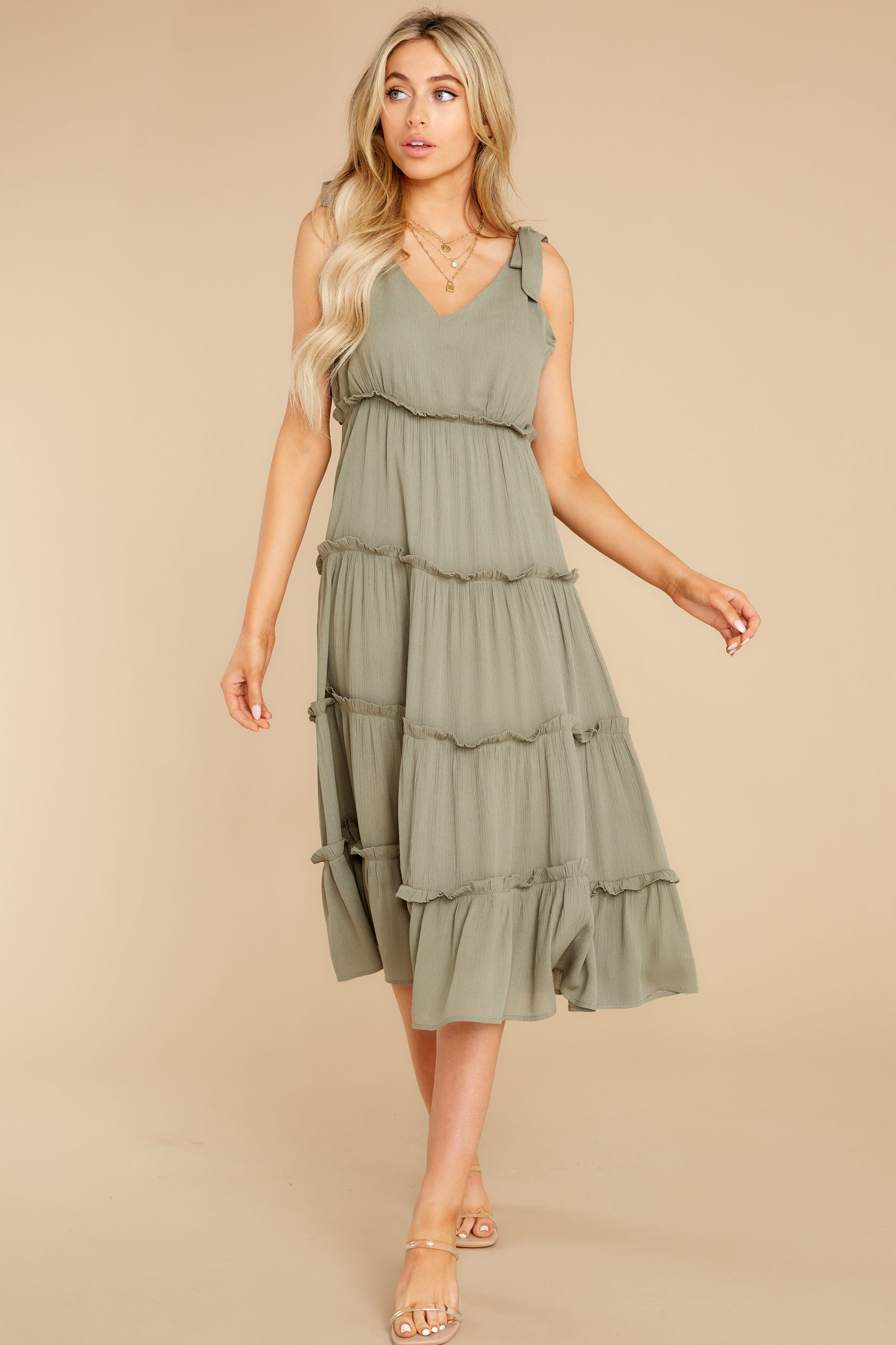 4 In Full Swing Olive Green Midi Dress at reddress.com