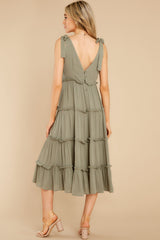 6 In Full Swing Olive Green Midi Dress at reddress.com