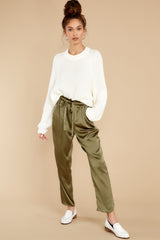 6 Go Glam Olive Pants at reddress.com