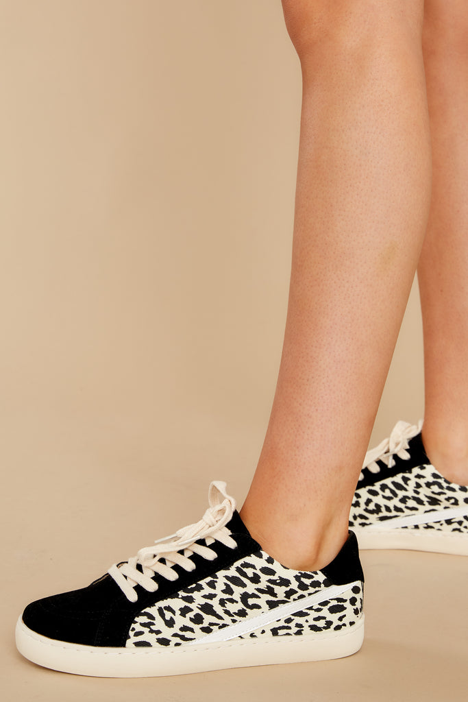 1 Day Tripping Black Leopard Sneakers at reddress.com