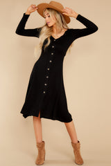 1 Keep It Uptown Black Knit Midi Dress at reddress.com