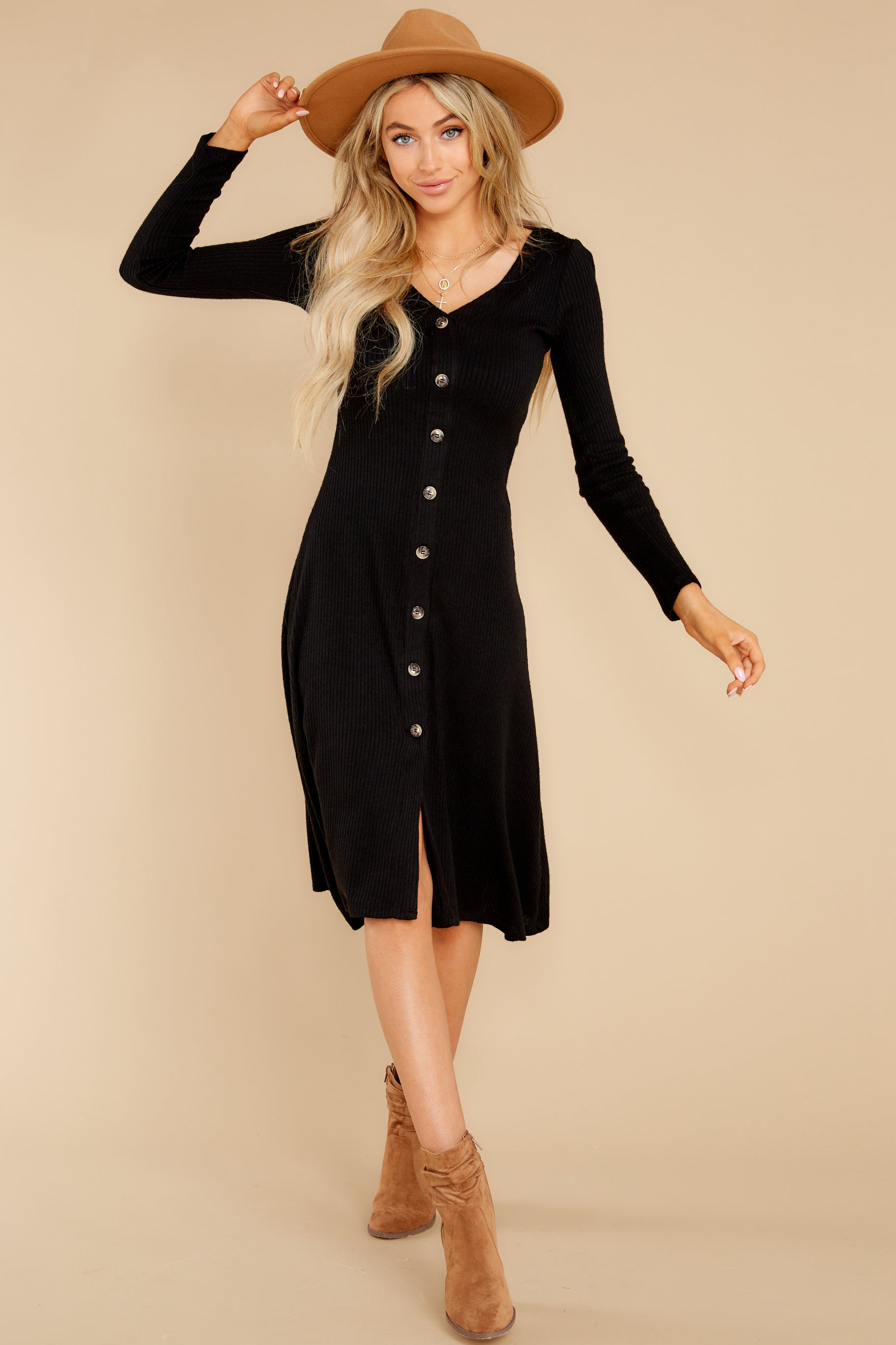 2 Keep It Uptown Black Knit Midi Dress at reddress.com