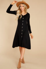 3 Keep It Uptown Black Knit Midi Dress at reddress.com