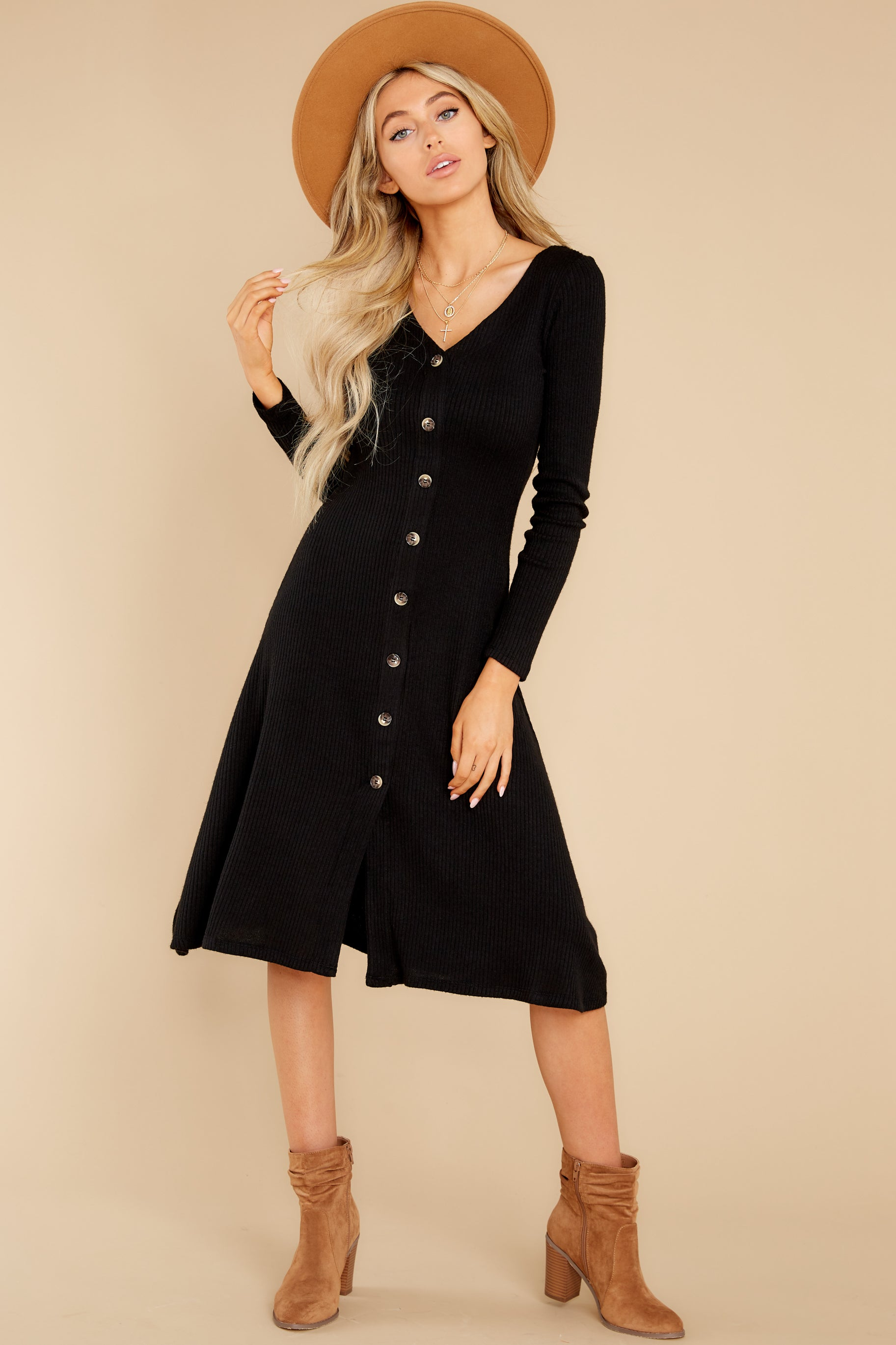 4 Keep It Uptown Black Knit Midi Dress at reddress.com