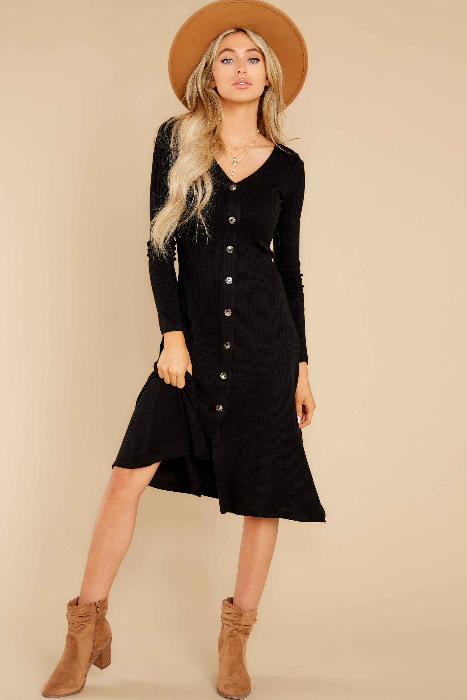5 Keep It Uptown Black Knit Midi Dress at reddress.com