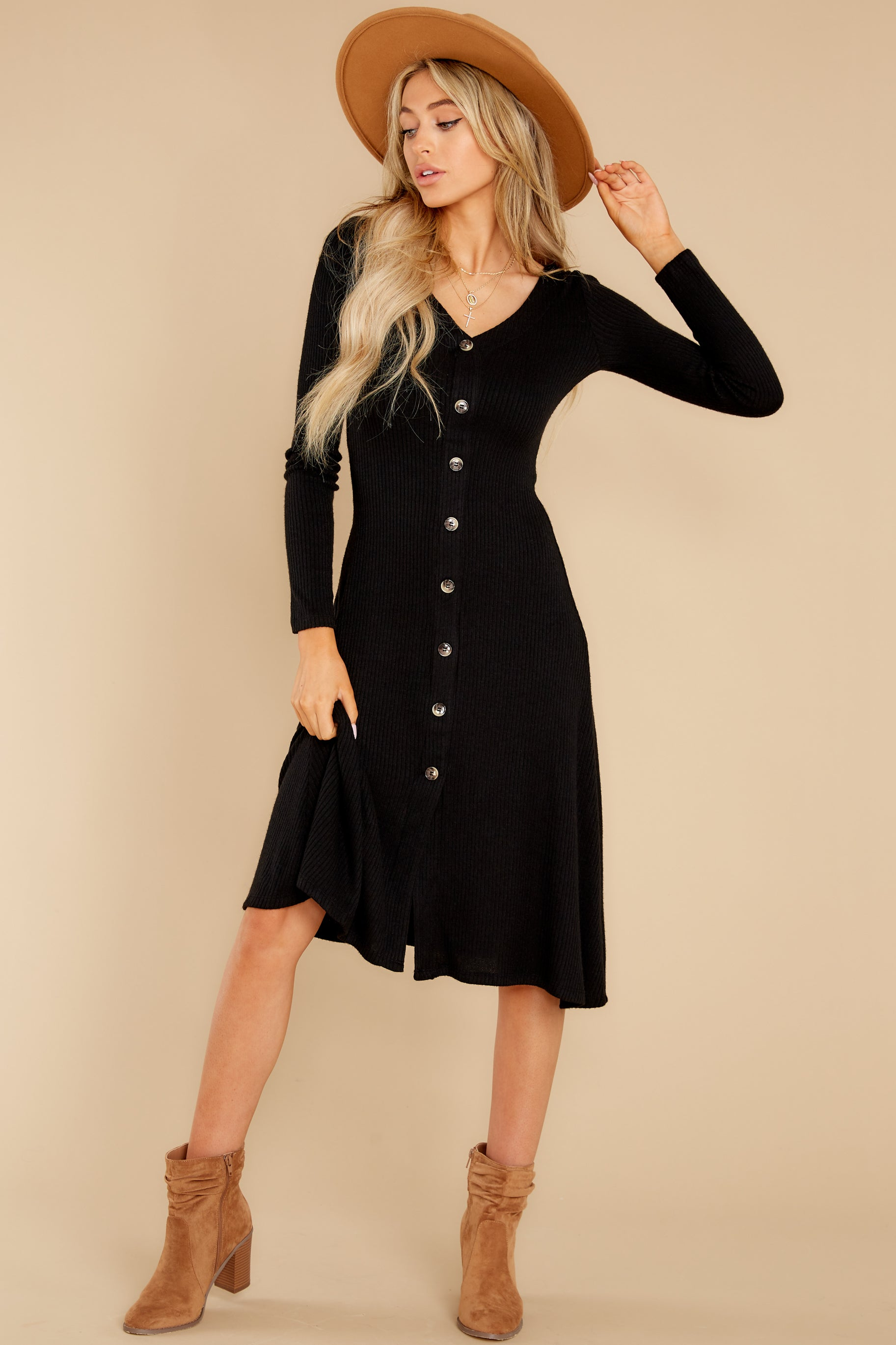 6 Keep It Uptown Black Knit Midi Dress at reddress.com