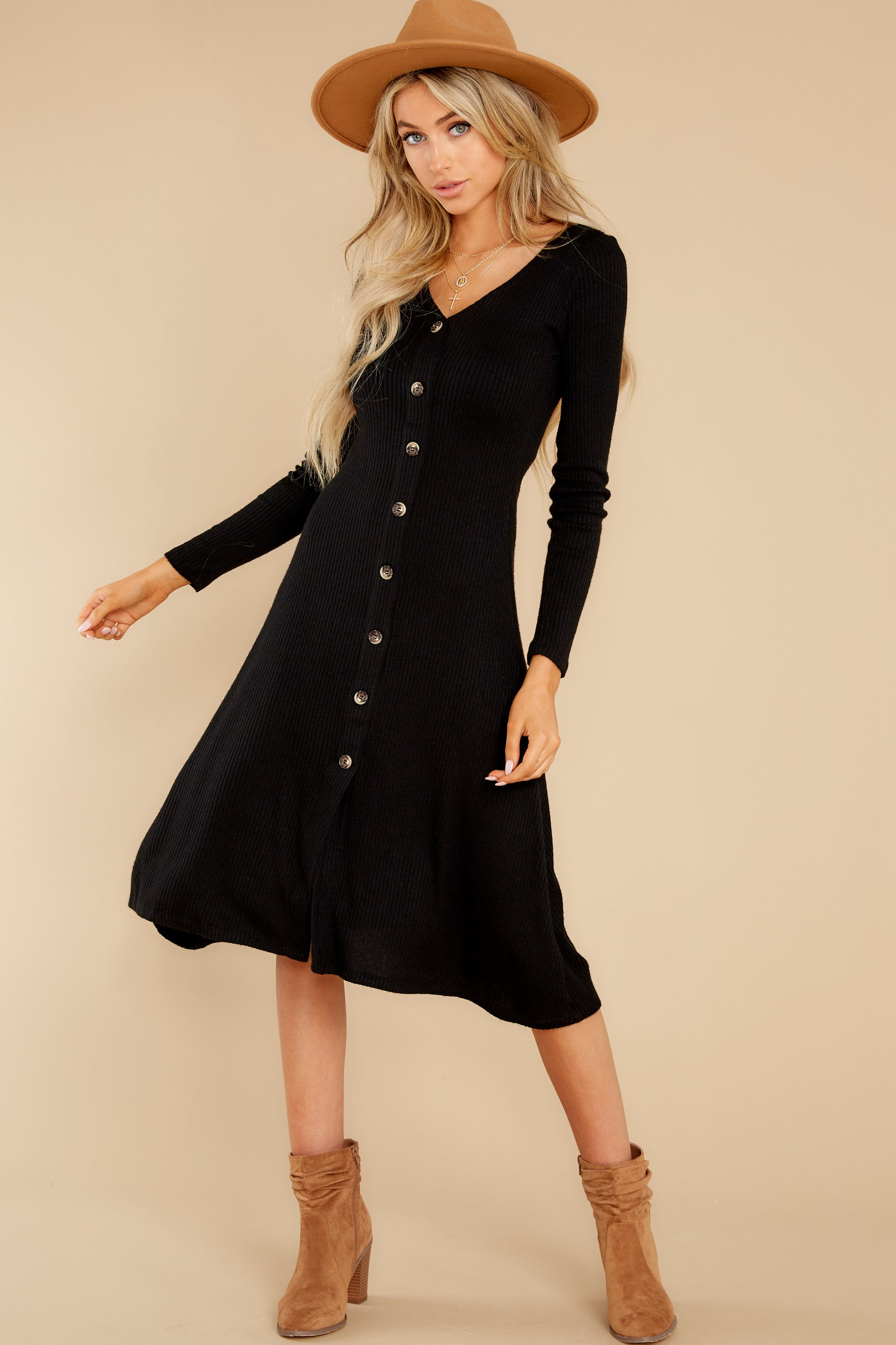 7 Keep It Uptown Black Knit Midi Dress at reddress.com