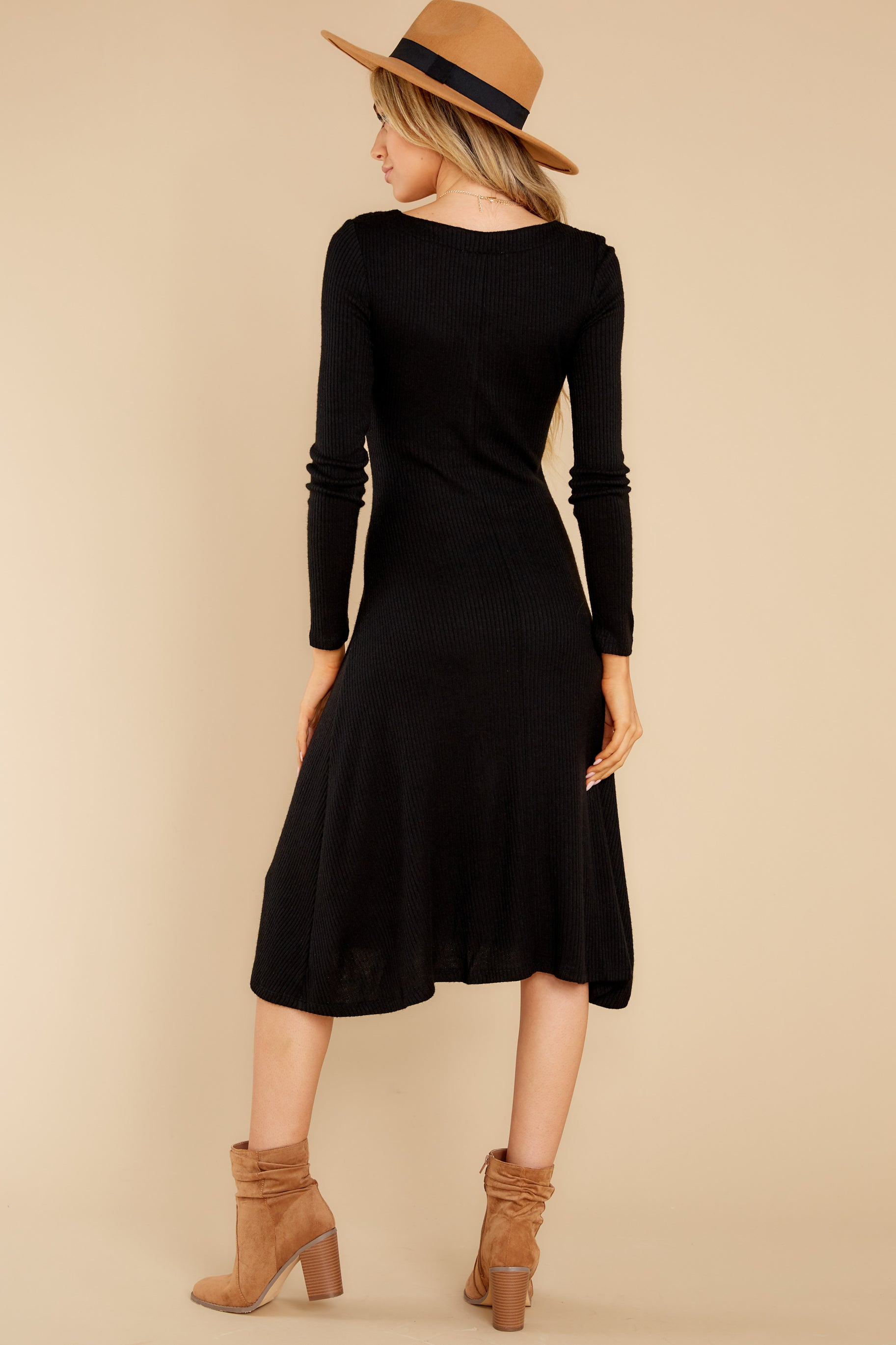 8 Keep It Uptown Black Knit Midi Dress at reddress.com