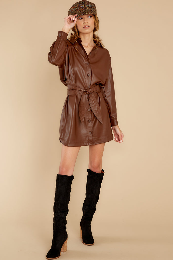 1 Times Are Changing Walnut Vegan Leather Dress at reddress.com
