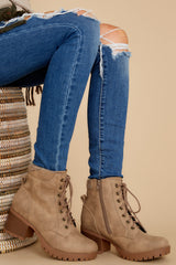 1 Weathered Love Taupe Lace Up Booties at reddress.com