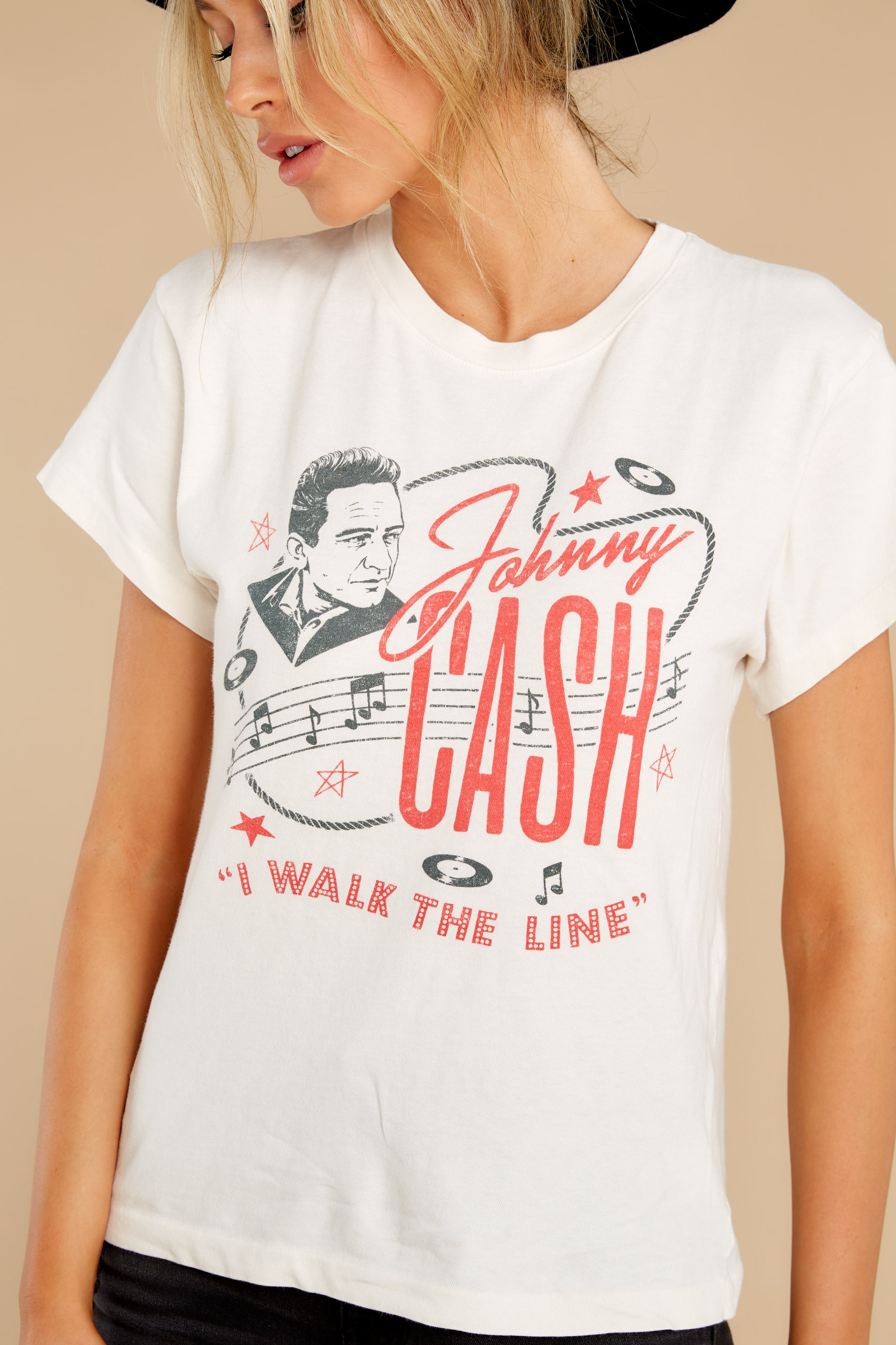 2 Johnny Cash Walk The Line Tour Dirty White Tee at reddress.com