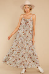 10 Fallen For You Sage And Rust Multi Print Maxi Dress at reddress.com
