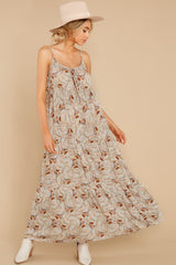 9 Fallen For You Sage And Rust Multi Print Maxi Dress at reddress.com